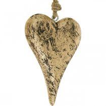 Hart om op te hangen houten gouden vintage hanger 15cm