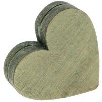 Houten harten grijs / rood / groen 3-6.5cm 8st