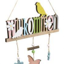 """Decoratieve hanger """"Welcome"""" lente 22cm H43cm 2st"""