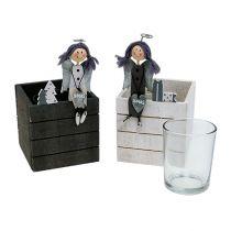 Houten doos met engel 8cm x 8cm grijs, wit 2st