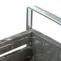 Houten kist grijs 20cm x 9cm H6cm met handvatten