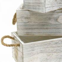 Bloembak, houten kist om te planten, plantenbak, plantenset L35 / 30 / 25cm