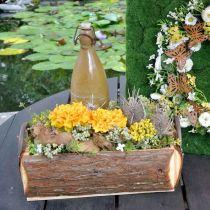Houten kist om te planten, plantenpot met handvatten, bloembak met schors 45,5 cm