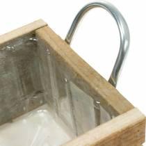 Plantenbak houten bak met handvatten naturel 16,5 x 16,5 cm