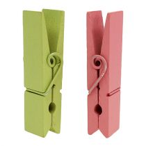 Houten clips kleurrijk 7,2 cm 48 st