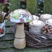 Houten paddestoeldecoratie herfstbladeren wit, kleurrijke paddestoel tafeldecoratie Ø10cm H15cm