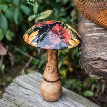 Houten paddenstoeldecoratie kleurrijke bladeren herfstdecoratie zwart, kleurrijk Ø13cm H19cm