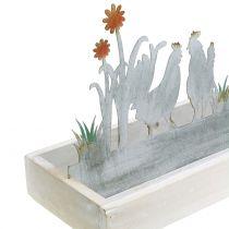 Houten dienblad met decoratieve plug lente weide 43cm