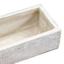 Houten kom om wit te planten 30cm x 9cm x 6cm