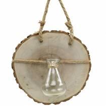 Houten schijf met glazen vaas om op te hangen Ø22cm