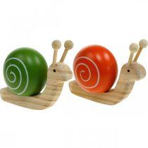 Houten slakken voor decoratie, lente, tuinslak groen-oranje, tafeldecoratie 6st