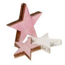 Houten ster 3-5cm roze / wit met glitter 24st
