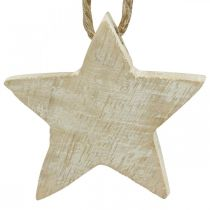 Houten ster kerstboomversiering naturel, white wash 5cm 36st