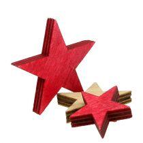 Houten sterren 3-5cm naturel / rood 24st