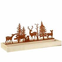 Houten dienblad bos met dieren 35cm x 15cm