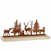 Houten dienblad bos met dieren 50cm x 17cm