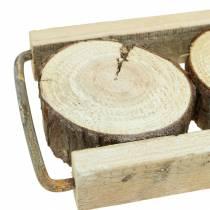 Decoratief dienblad hout met boomschijven 34cm x 12cm H3cm