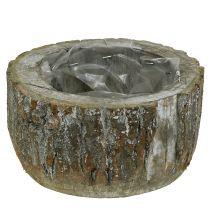Plantpot gemaakt van hout wit gewassen Ø20cm H10cm