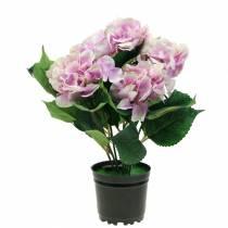 Zijden bloemen hortensia in een pot lila 35cm