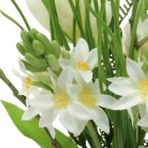 Boeket met hyacinten en tulpen kunstmatig 34cm