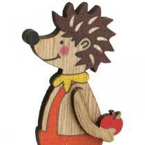 Egel met paddenstoelen, herfstfiguur, paar houten egels geel / oranje H11cm L10 / 10,5cm set van 2