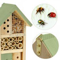 Insectenhotel groen hout nesthulp tuin insectenhuis H26cm