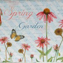 Jardiniere plantenbak met handvatten metalen bloemen lentedecoratie 23 × 14 × 11cm