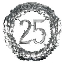 Verjaardag nummer 25 in zilver Ø40cm
