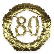Verjaardag nummer 80 in goud Ø40cm