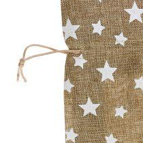 Jutezak met sterren 23cm x 23cm H35cm naturel