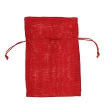 Jute zakken rood 16cm x 24cm 10st