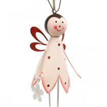 Kever om op te hangen, lentedecoratie, metalen kever met bloem, decoratiehanger 2st