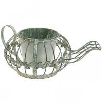 Plantenbak, decoratieve koffiepot, metalen pot voor opplant L15.5cm Ø11.8cm