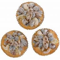 Muffins met noten kunstmatig 7cm 3st