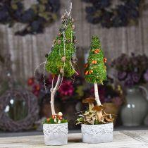 Keramiek vat, bloempot met eiken decor, plantenpot groen / wit / grijs Ø13cm H11.5cm set van 3