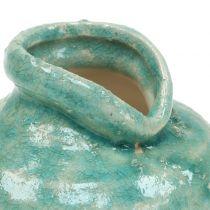 Keramische vaas antiek blauw H9cm