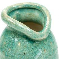 Keramische vaas antiek blauw H21cm