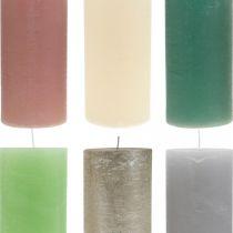 Stompkaarsen in verschillende kleuren gekleurd 85 × 200 mm 2st