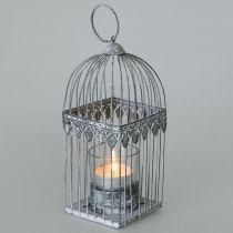 Kaarsdecoratie, vogelkooi met theelichtglas, metalen lantaarn, huwelijksdecoratie, lantaarn 22cm