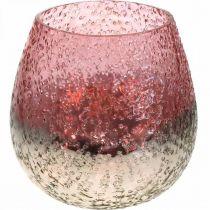 Glazen lantaarn, theelichthouder, tafeldecoratie, kaarsglas roze / zilver Ø15cm H15cm
