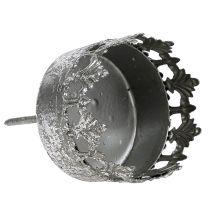 Kandelaar antiek zilver Ø5cm H10cm 1p