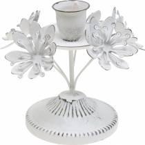 Kaarsdecoratie, lente, kandelaar met bloemen, metalen decoratie voor de bruiloft