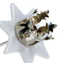 Kandelaar ster wit-zilver Ø6cm 4st