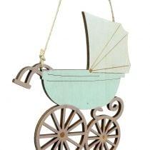 Decoratieve hangende kinderwagen roze / blauw 16,5 cm x 15 cm 6 stks