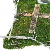 Kussen mos en wijnranken met kruis voor grafopstelling 25x25cm