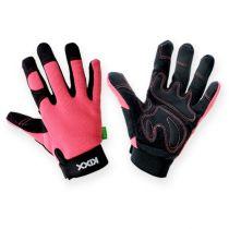 Kixx synthetische handschoenen maat 7 roze, zwart