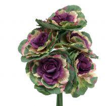 Kunstkool paars, groen 25cm 6st
