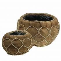Plantenbak kokos naturel Ø37 / 24cm, set van 2