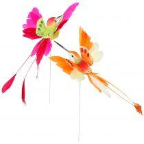 Kolibrie op de draad om in te pluggen Roze, Oranje 17cm 6st