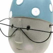 Decoratieve hoofdvlotter met bril en badmuts blauw wit H15cm / 16cm 2st